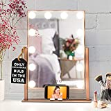 REBEL POPPY Vanity Mirrors with LED Lights - Phone Mount, 3 Lighting Touch Control, 18.5' x 14.8', Fogless - Hollywood Lighted Makeup Mirror - Rose Gold