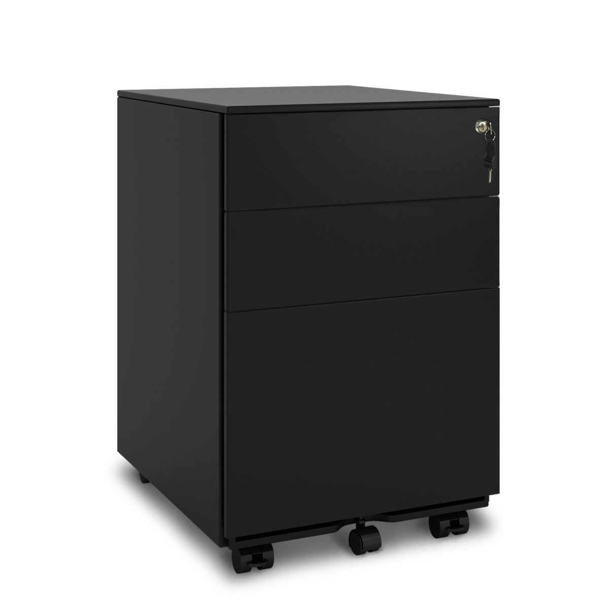 DEVAISE 3 Drawer Metal File Cabinet with Lock in White/Black (Open from Side - Black)