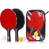 ChenXi Global Table Tennis Racket Bat Set (2Pingpong Paddle Bats+3Table Tennis Balls/Pack)