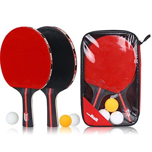 ChenXi Global Table Tennis Racket Bat Set (2Pingpong Paddle Bats+3Table Tennis Balls/Pack) by ChenXi Global