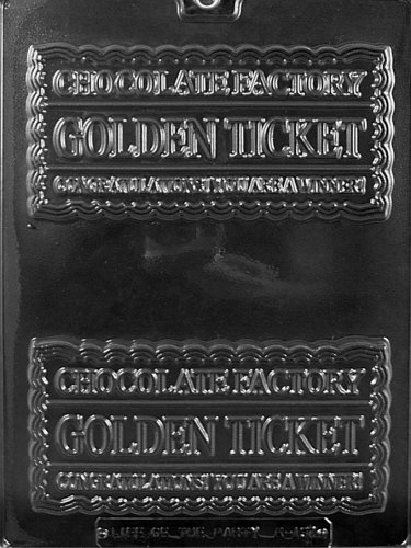 Cybrtrayd Life of the Party K137 Golden Ticket Chocolate Candy Mold in Sealed Protective Poly Bag Imprinted with Copyrighted Cybrtrayd Molding Instructions