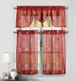 Cheap Duck River Textiles Dolores Cherrystrawberry Emb Kitchen Curtain Set Red-Gold