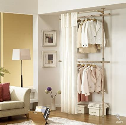 PRINCE HANGER Premium Wood Colored 2 Tier Hanger with Curtain | Clothing Rack
