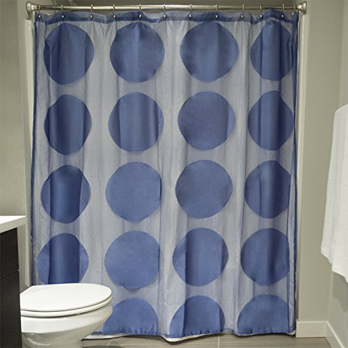 Blueberry Curtain - DII Everyday 100% Polyester Extra Long Bath Fabric Shower Curtain For Bathroom, 72x72