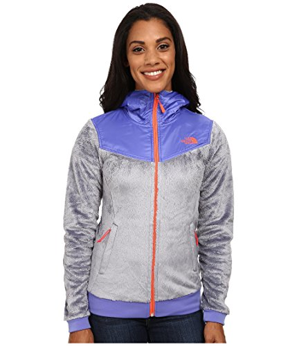 The North Face Oso Hoodie Womens Mid Grey/Starry Purple XS (North Face Oso Plush Fleece Hooded Jacket)