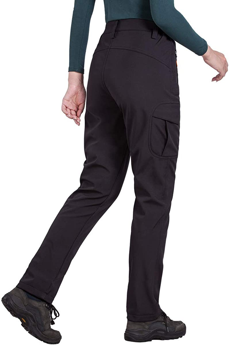 FREE SOLDIER Womens Outdoor Water Resistant Fleece Lined Softshell Pants Windproof Breathable Lightweight Hiking Cargo Pants