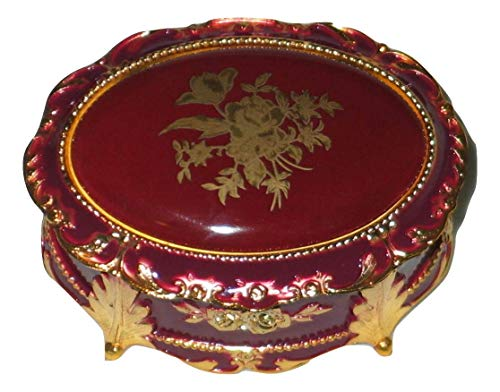 Burgundy & Gold Oval Shaped Musical Jewelry Box playing Memory ()