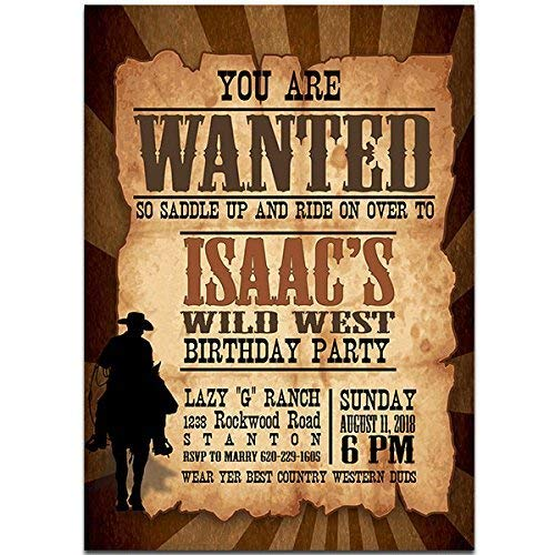 (Cowboy WANTED Birthday Party Invitations)