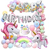 Unicorn Birthday Balloons Party Decoration for Baby Girls,Huge 3D Unicorn Balloons Unicorn Cake Toppers Macaron Party Balloon Triangle Banner for Birthday Shower Party Festival Decoration(83 pcs)