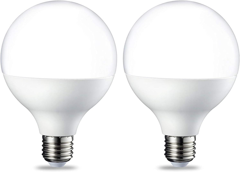 AmazonBasics Bombilla LED Globo E27, 14.5W (equivalente a 100W), Blanco Cálido, 2 unidades