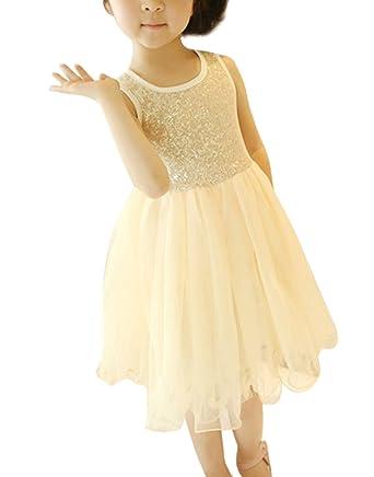 Elégante Robe de Petite Fille Paillettes en Tulle Sans Manches Jupe Eté Robe  de Mariage  ab86b44d007