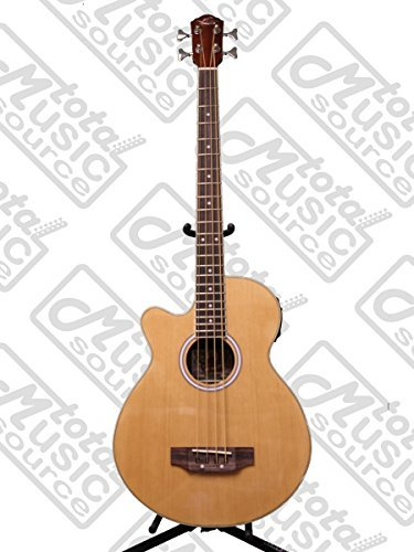 Left Hand Oscar Schmidt Acoustic Electric Bass Guitar, Lefty, Venetian Cutaway, Gig Bag (Cutaway Bass)