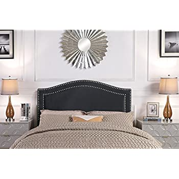 Iconic Home Minerva Headboard Velvet Upholstered Double Row Silver Nailhead Trim, Modern Transitional, Twin, Black