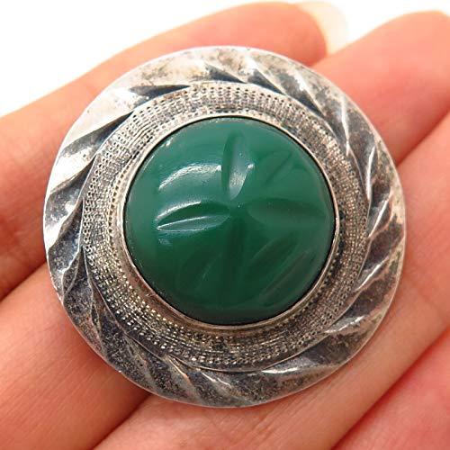 Sterling Vintage Mexico Carved Green Onyx Gem Tribal Design Brooch/Pendant
