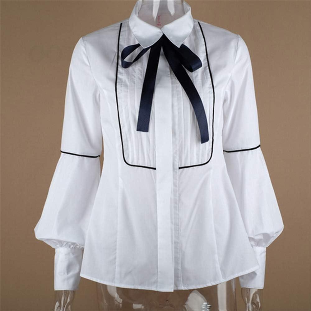 Office Bow Tie Blusa Mujer Linterna Manga Botón Blanco Corbata Camisas Mujer Elegante Camisa de Trabajo Casual Tops Ne: Amazon.es: Ropa y accesorios