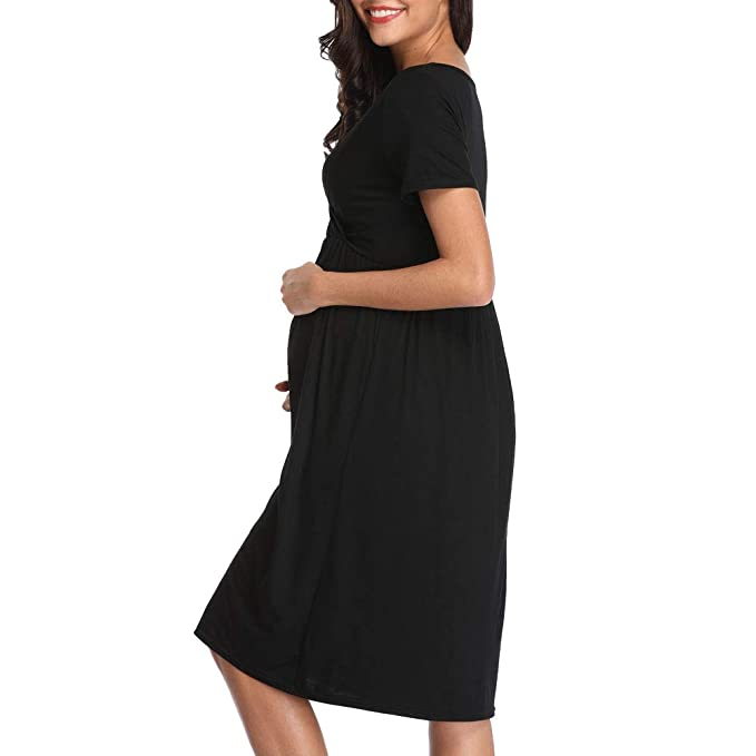 7208c9958660a Derssity Women Maternity Dresses Ruched Pregnancy Dress Clothing:  Amazon.ca: Clothing & Accessories