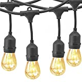 YZtree Outdoor String Lights,Watherproof Commercial Quality Bistro Festoon Garden Light 24 Feet with 12 Hanging Dropped Sockets