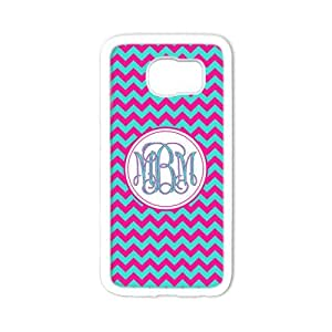 iFUOFF Amazing Cyan and Pink Zigzag Chevron Circle Blue Monograms Customized Protective Snap On Fashion Case for Samsung G9250 GALAXY S6 edge (Black or White 2 Colors)