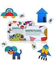 LEADSTAR Jigsaw Puzzle, Shape Puzzels voor 2 3 4 5 jaar oud, Kids Puzzels 36 Stks Houten Puzzel Speelgoed en 50 kaarten in 2 Tin Boxes, Montessori Educatief Speelgoed Verjaardagscadeau voor jongens meisjes