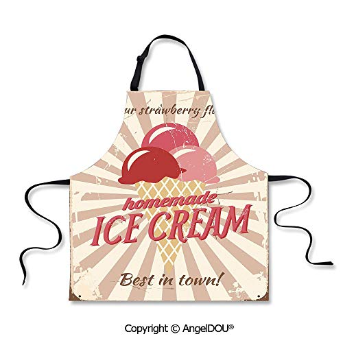 SCOXIXI Adult Kitchen Dinner Party Cooking Apron Vintage Sign with Homemade Ice Cream Best in Town Quote Print Decorative Cooking Home Cleaning Tools.]()