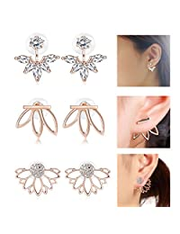 Jstyle 3 Pairs Lotus Flower Earrings Jackets For Women Girls Simple Chic Ear Stud Earrings