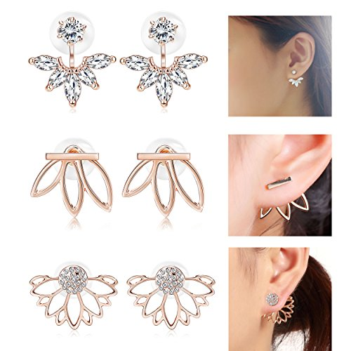 Jstyle 3 Pairs Lotus Flower Earrings Jackets For Women Girls Simple Chic Ear Stud Earrings Rose Gold