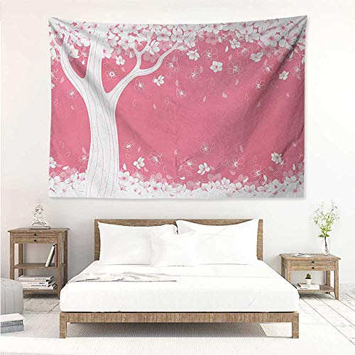 Nature,Wall Decor Tapestry Blossom of Sakura Tree Silhouette Springtime Inspired Seasonal Nature Image Print 72W x 54L Inch Tapestry Wallpaper Home Decor Pink White ()