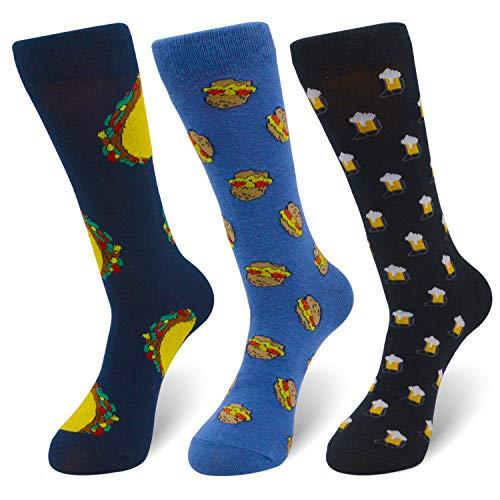 Men's Novelty Crazy Food Crew Sneaker Socks Funny Pizza Beer Hamburg Geek Cotton Basketball Socks