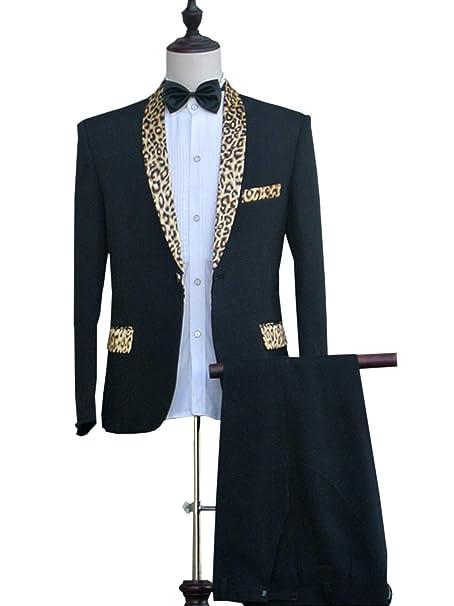 Amazon.com: Traje de hombre 2 piezas Leopard Shawl solapa ...
