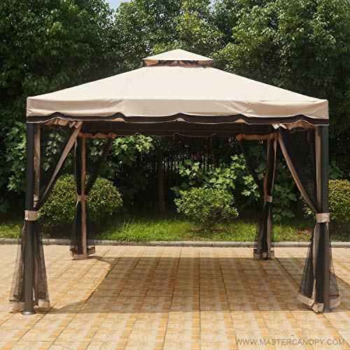 Gazebo Tiered Roof - MASTERCANOPY Patio 10X10 Rome Gazebo Canopy Soft Top with Mosquito Netting, GH12N12