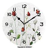 SCOCICI Round Wall Clock Wildflower Garden with Butterflies Summertime Joy Happiness Theme Artwork 10 inch Morden Acrylic Mirror Wall Clocks Silent Round Decorative Clock