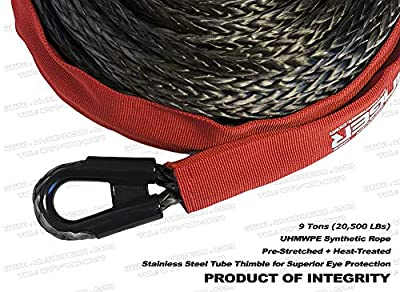 """Ranger 3/8"""" x 100' Durable UHMWPE Synthetic Winch Rope Cable 20,500LBs with Protective Sleeve"""