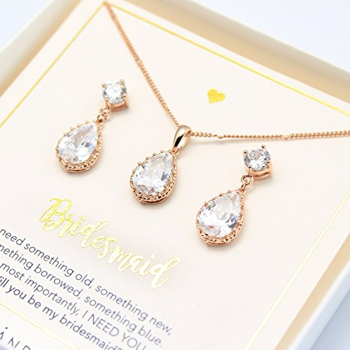 Rose gold Crystal jewelry Set,Rose gold jewelry set, Crystal Bridesmaid Jewelry Set,Bridesmaid gift,will you be my bridesmaid, Crystal jewelry set,Bridal jewelry