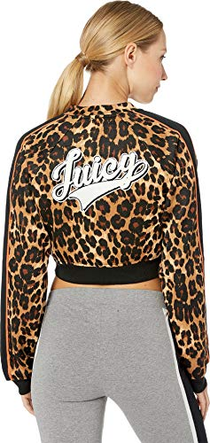 Juicy Couture Women's Juicy Logo Patch Leopard Tricot Jacket Multi Regent Leopard Medium - Juicy Couture Leopard