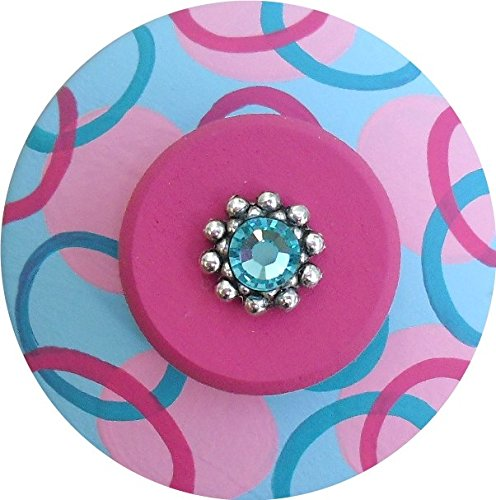 Hand Painted Jeweled Turquoise Hot Pink Circle Dots Decorative Kids Dresser Knobs Furnitue Kids Childrens Nursery Room Art Home Decor Wood Drawer Knobs Pulls (Polka Dots Knob Pink)