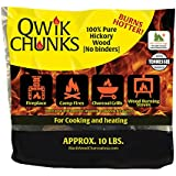 Blackwood Charcoal Qwik Chunks 10lb All Natural Hickory Wood Fire Log Chunks –10 lb bag