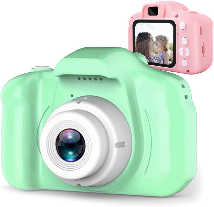 Amazon Com Dlmpt Kids Digital Camera For Girls Age 3 10 Toddler Cameras With 2 Inch Screen Cartoon Rechargeable Video Camera Child Camcorder Toy Gift For Kid S Birthday Green 8mp Home Kitchen