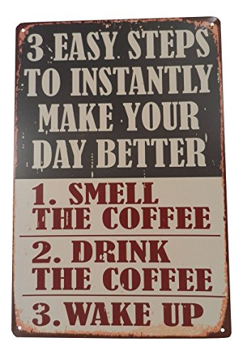 - Steps to Wake up Coffee Funny Tin Sign Bar Pub Garage Diner Cafe Home Wall Decor Home Decor Art Poster Retro Vintage