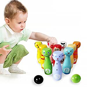 Lewo Wooden Large Bowling Game Indoor Skittles Set Toys for Kids with 10 Animal Pins 2 Balls