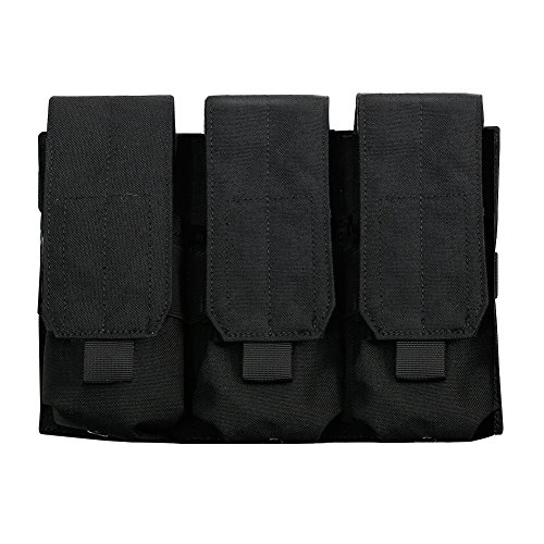 Outry M4 M16 AR-15 Type Magazine Pouch Mag Holder - Triple/Double / Single Airsoft MOLLE Mag Pouch - Velcro Closed Flap Version - Triple - Black ()