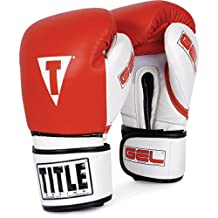 TITLE Boxing  TITLE Gel Intense Bag Gloves, Red/White, 12-Ounce