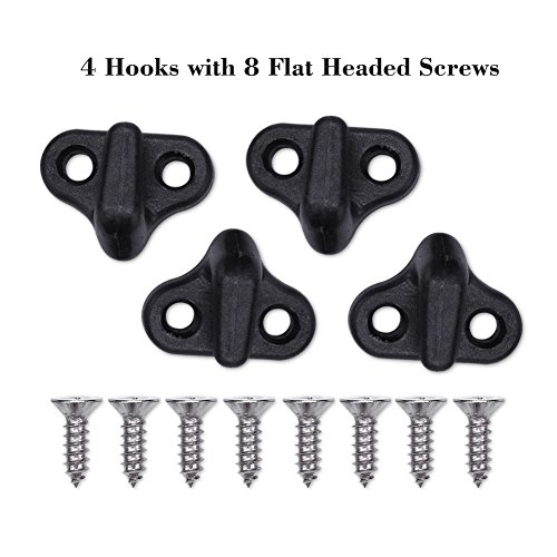 T-best Kayak Lashing Hooks J Hooks Nylon Bungee Hooks J Shape Hooks Replacement Black With Flat-head Screws for Kayak Canoe Paddle Board Boat Deck Rigging Kit