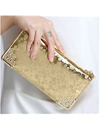 Elegant Women's Long Clutch Wallet Fashion Patent Leather Stone Patter PU Leather Purse Money Bag Coins Holder (Gold)