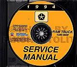 1994 DODGE PICKUP & TRUCK REPAIR SHOP & SERVICE MANUAL CD Including Ram, 1500, 2500, 3500, LT, ST, SLT, Work Special 2WD, 4WD, gasoline and diesel engines