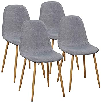 VECELO Dining Chairs for Kitchen Dining Living Lounge Room, Fabric Cushion Seat Back Sturdy Metal Legs, Set of 4,Gray