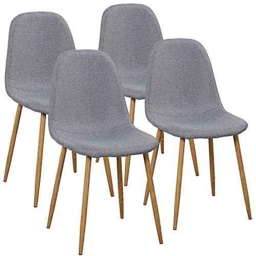 VECELO Dining Chairs for Kitchen Dining Living Lounge Room, Fabric Cushion Seat Back Sturdy Metal Legs, Set of 4,Grey