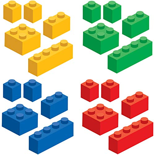 Brick Builders Blocks Wall Decal Stickers Pack, Set of 20 Blocks in 4 Colors - 9 Mil Laminated - Removable, Reusable, Repositionable (20 Pack, Boy)