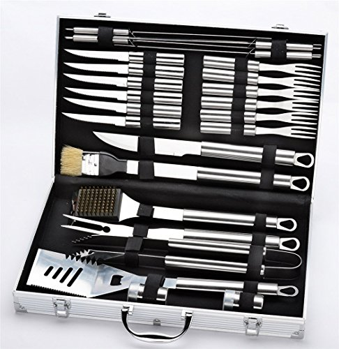 Joyeee 24-Piece Premium Stainless Steel BBQ Grill Tool Set with Aluminum Storage (Man Boat Kit)