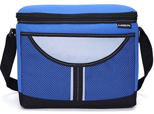 MIER Insulated lunch Box Bag Adult Men and Women Soft Cooler Bag with Shoulder Strap, Leakproof Liner, 16can(Blue)