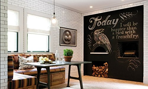 (45x200cm Schwarz)Selbstklebende Multifunktions-Tafelfolie-Wand-Aufkleber / Nachricht / Wandaufkleber - Vinyl Kontakt Papier für Restaurant-Menü-Tafel, Büro, Tapete, Kunst Zitate, Home Kitchen Aufkleber